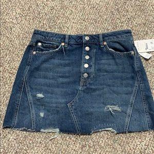 Distressed Free People Mini Denim Skirt